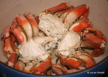 Cooked Dungeness crab from Cornet Bay