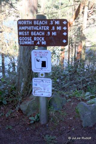 Sign at base of stairs south of Deception Pass Bridge