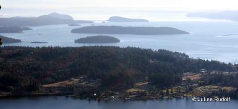 Hope Island (background) and Skagit Island viewed from Mount Erie